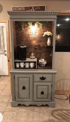 Rustic Bar Cabinet, Rustic Wooden Shelves, Coffee Nook, Coffee Bar Home, Kitchen Themes, Kitchen Decor, Kitchen Design, Diy Furniture Renovation, Furniture Makeover