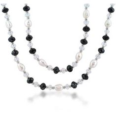 Silver Crystal Pearl Black Onyx Gatsby Inspired Long Necklace 40in ($23) ❤ liked on Polyvore featuring jewelry, necklaces, white, white necklace, flapper necklace, pearl jewellery, black onyx necklace and pearl necklaces