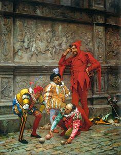 Eduardo Zamacois y Zabala - Jesters Playing Cochonnet [c.1880]  #19th #Classic #Eduardo #Zamacois y #Zabala #Painting