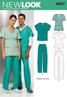 Womens, Men and Teens Scrub Top Sewing Pattern 6857 New Look