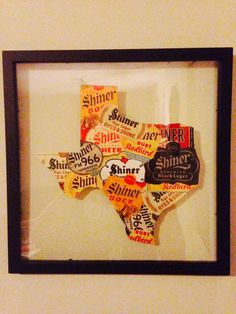 Texas Shiner Beer Label 14x14 Frame Custom Made by DIYrustic, $40.00