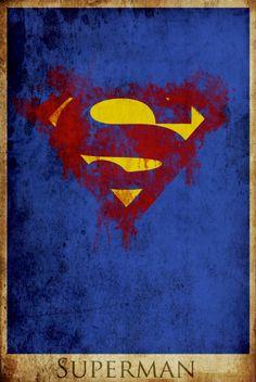 Superman retro poster minimalist poster movie print man of steel art poster print 16x24. $40.00, via Etsy.