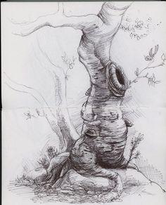 white on black sketch Tree Pencil Sketch, Tree Drawings Pencil, Landscape Pencil Drawings, Tree Sketches, Ink Pen Drawings, Realistic Drawings, Drawing Sketches, Sketching, Nature Sketch