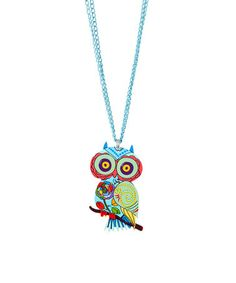 This Blue & Pink Owl Pendant Necklace is perfect! #zulilyfinds