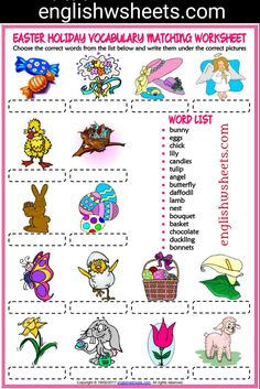 Easter Esl Printable Matching Exercise Worksheet For Kids #easter #esl #Printable #Matching #Exercise #Worksheet #language #arts #languagearts