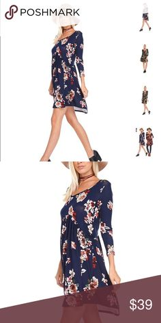[ilex] Floral long sleeve that can be born as a dress or tunic.   Colors available: Navy Sizes: Small, Medium, Large Fabric: 95% rayon, 5% spandex  Condition: New with tags  Please ask all questions before purchase.  Bundle Discount: 10% on 2+ items.  Typically ships within 24 hours.   Follow along on Instagram, Snapchat, Twitter & Facebook: @flowersandgray  xo, Jess Flowers and Gray Tops Tunics