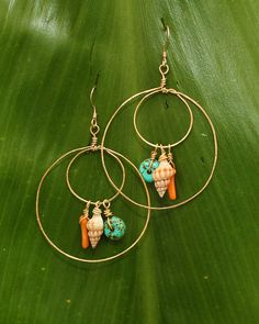 shell earrings--would be cute with a feather in the inner hoop