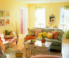 If I did not have a house full of guys!  This would be my perfect little living area - bright, cheery an comfy!!!