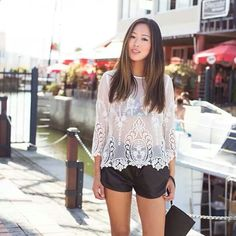Wht lace top/blk shorts... Cassy day look