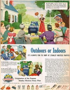 Outdoors or Indoors - It's Always Fun to Shop at Stanley Hostess Parties. #vintage #1950s #cleaning #homemaker