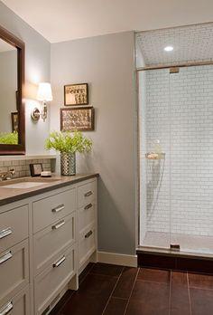 frameless shower, vanity, art, sconces, hardware @kristinacrestindesign