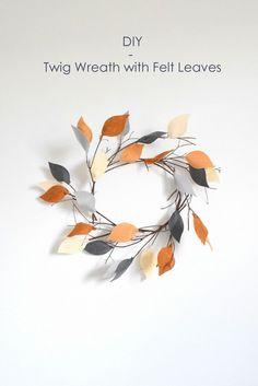 DIY Twig Wreath with Felt Leaves | 16 DIY Crafts for Fall