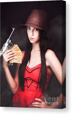 Beautiful Gangsters Canvas Print featuring the photograph Ganster And Her Gun by Jorgo Photography - Wall Art Gallery