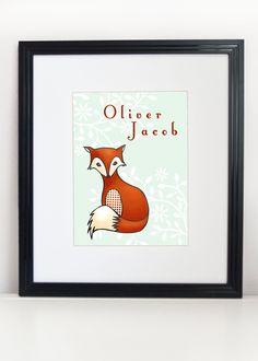 Fox Illustration Print 8x10 - Woodland Nursery Art - Little Red Fox. $20.00, via Etsy.