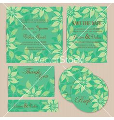 Wedding set with flowers vector - by ARNICA on VectorStock®