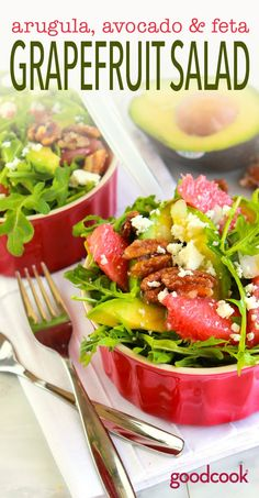 Keep all your New Year's resolutions, without feeling like you're giving up the yummy stuff. This vegetarian Grapefruit, Avocado and Arugula Salad is all sorts of seasonal, plant-based goodness, in one yummy bowl.
