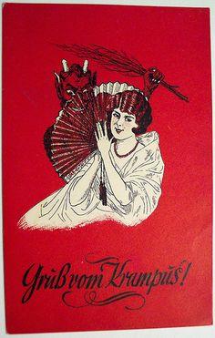 Vintage Christmas Postcard - Krampus.