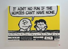 Artist Mark Drew's new exhibition mixes Charlie Brown and the gang with classic '90s hip hop legends.