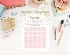 Instant Download Confetti Shower Bridal Bingo Game Cards by Fine and Dandy Paperie