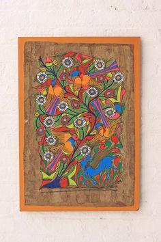 1960s Amate Bark Folk Painting Middle School Art Mexican Pattern Bird