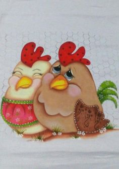 Tole Painting, Fabric Painting, Painting On Wood, Chicken Images, Chicken Art, Cute Chickens, Chickens And Roosters, Cartoon Pics, Cartoon Art