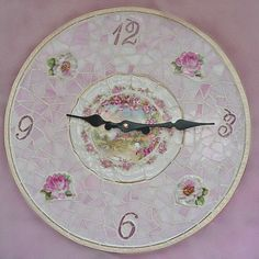 SOLD  Shabby Pink Mosaic Clock from our mosaic artisan Suze