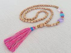 Long one of a kind wooden bead tassel necklace  by Brightnewpenny