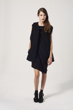 Asymmetric wool crepe dress , chain neckline detail