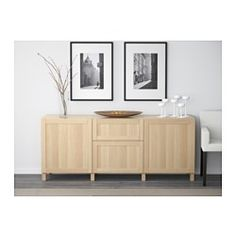 BESTÅ Storage combination with drawers, Hanviken white stained oak effect - 180x40x74 cm - drawer runner, push-open - IKEA