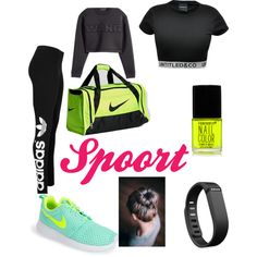 Some sport by ramanguue on Polyvore featuring Alexander Wang, adidas Originals, NIKE, Fitbit and Forever 21