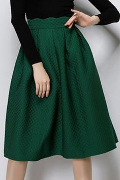 Vintage Solid Color High Waist A-Line Skirt For Women