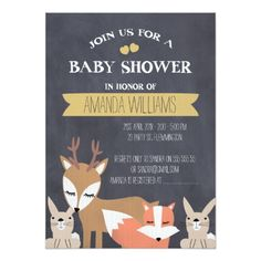 Shop Chalkboard Woodland Baby shower invitation created by figtreedesign. Personalize it with photos & text or purchase as is! Custom Baby Shower Invitations, Baby Shower Invitation Cards, Baby Shower Invitations For Boys, Baby Shower Chalkboard, Woodland Baby, Woodland Animals, Baby Shower Vintage, Baby Shower Flowers, Oh Deer