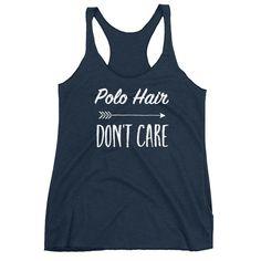 Water Polo Hair Don't Care funny racerback tank top gift idea.  #waterpolo #polo #racerback #tanktop #giftidea #swimmer