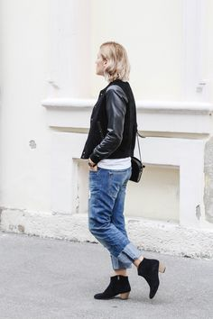 tifmys – Mango college leather jacket, Larsson&Jennings Läder watch, H&M destroyed denim & Isabel Marant Dicker boots.