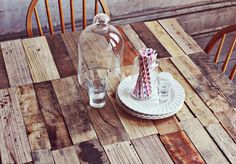 I WANT to do a variation of this so bad!! Maybe in a herringbone pattern though:) DIY Reclaimed Wood Kitchen Table by Emma (A Beautiful Mess)