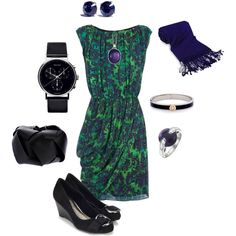 Blue and Green Garden Dress Outfit by hread on Polyvore