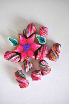 Pink Flower with twisted beads Polymer Clay Lot 8 via Etsy
