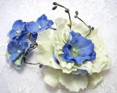 Woodland wedding hair accessories blue hydrangea by PaijasBoutique, $36.00