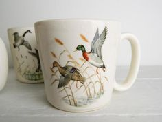 Vintage McCoy Coffee Mugs - Canadian Geese & Mallard Ducks - Set of 4 Canadian Gifts, Mount Clemens, The Fragile, Mccoy Pottery, Mallard, Ducks, Photo S, Coffee Mugs, Tableware