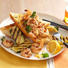Lighten up a pasta classic with Grilled Shrimp Scampi