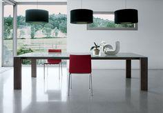 LIVINGSTAND glass dining table, design Giulio Mancini, walnut legs ...