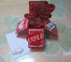 Card Box - Made with Stampin' Up! Hearts Collections Framelits