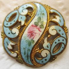 Stunning LARGE Antique French Champleve Enamel BUTTON w/ Metal Openwork & Rose