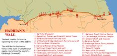 Map of Hadrian's Wall- chapter 3 Wall Maps, Hadrian's Wall, Tour Of Britain, Roman Britain, Fortification, Historical Maps, Interesting History, North Yorkshire, Cumbria