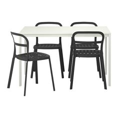 MELLTORP/REIDAR Table and 4 chairs IKEA The table top is covered with melamine, a moisture- and scratch-resistant finish that is easy to clean.