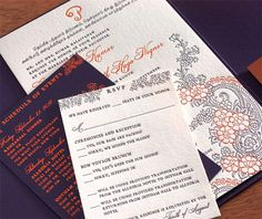 Our gajal wedding invitation looks incredible oversize with purple ink and copper foil.  It is paired with an oversize custom pocket folder.  | Invitations by Ajalon | invitationsbyajalon.com