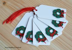 Six beautiful handmade crocheted motifs on Christmas gift tags.  You will receive 6 white gift tags with crochet applique.  Size approx . 9 cm X