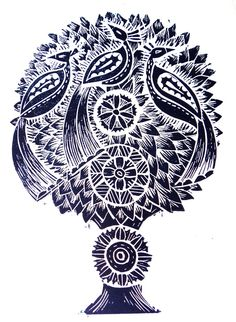 Indigo Birds Linocut Print by Amanda Colville of Mangle Prints.