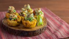 Shrimp and avocado stuffed plantain cups are hand-held bites of zesty heaven.