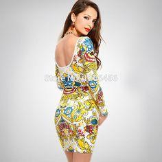 LADY GO 2014 Winter Women Fashion Retro Bright Color Bandage Dress Printed Backless Long Sleeve Sexy Wedding Bodycon Dress H456